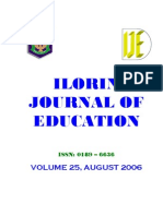 Ilorin Journal of Education Vol 25 August 2006