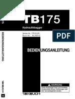 Takeuchi Betriebsanleitung Tb175 Al3g012
