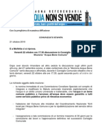 Comunicato Stampa Per ODG Consigio Comunale Molfetta 22 Ottobre 2010