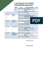 Jadwal Pelajaran TPA Almira