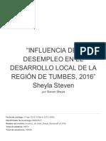 """""""INFLUENCIA DEL DESEMPLEO EN EL DESARROLLO LOCAL DE LA REGIÓN DE TUMBES, 2016"""" Sheyla Steven.pdf"""