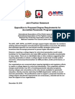 Iafc Iaff Nfpa Nvfc Joint Position Statement on Paramedic Education Requirements 12-30-18