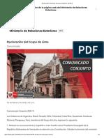 Declaración Del Grupo de Lima _ Gobierno Del Perú