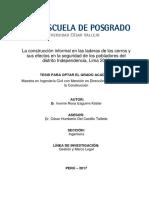 La Construccion Informal en Las Laderas de Los Cerros y Sus Efectos en Las Seguridad de Los Pobladores