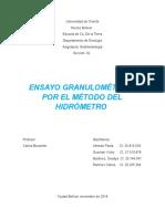 Ensayo Granulométrico por el método de Hidrómetro
