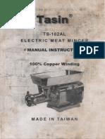 Tasin TS-102AL Electric Meat Mincer Instructions