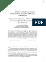Aprendizaje organizativo y creación de valor en las relaciones fabricante distribuidor
