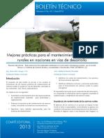 Mejores Practicas Para El Mantenimiento de Caminos Rurales en Naciones en Vias de Desarrollo
