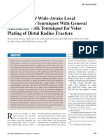 Comparison of Wide-Awake Local Anesthesia No Tourniquet With General Anesthesia With Tourniquet for Volar Plating of Distal Radius Fracture