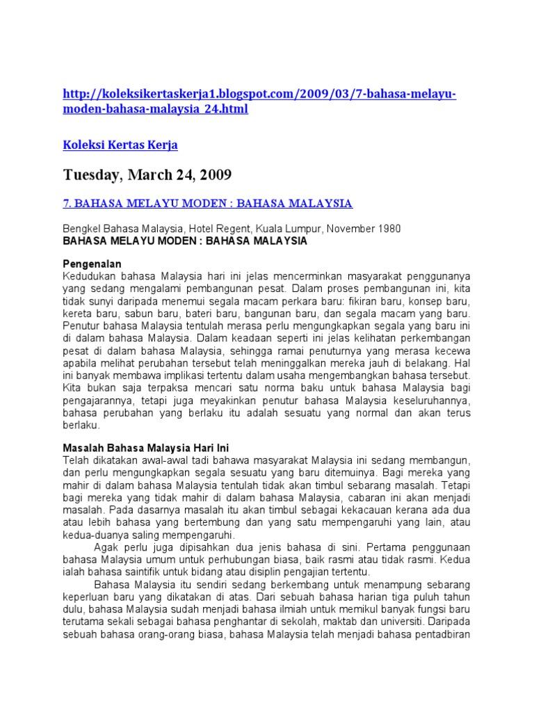 Tuesday March 24 2009 Bahasa Melayu Moden Bahasa Malaysia 24 Html Koleksi Kertas Kerja