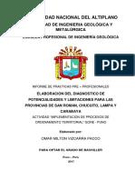 Diagnóstico de Potencialidades y limitaciones de las provincias de San Román, Chucuito, Lampa, Carabaya de la region de Puno