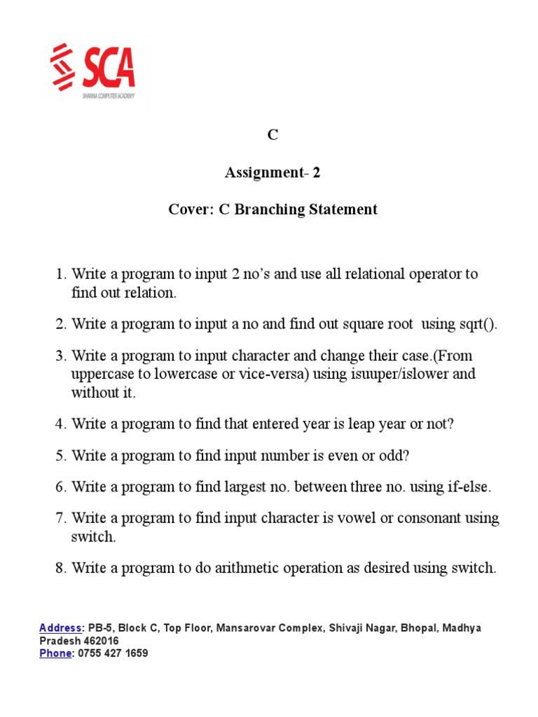 2- C Branching Assignment