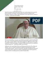 Videomesajul Papei înaintea călătoriei în Emiratele Arabe Unite