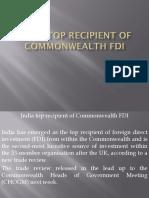 India Top Recipient of Commonwealth FDI Ppt
