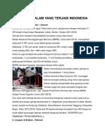 Bencana Alam Yang Terjadi Indonesia Dan