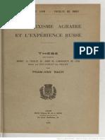 Pham Van Bach Marxisme Agraire Experience Russe 1936