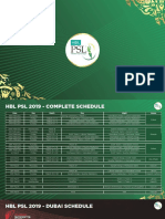 PSL 2019 - Schedules