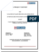 """ANALYSIS OF SALES PROCESS AND OPERATIONS OF RETAIL BRANCH BANKING SYSTEM IN HDFC BANK"""