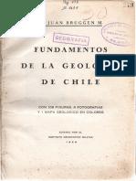 Bruggen, 1950. LIBRO. Fundamentos de La Geologia de Chile