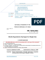 GB 15810-2001 Sterile Hypodermic Syringes for Single Use - CHİNA