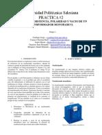 Practica 2 Ensayo de Resistencia Polaridad y Vacio en Tranformadores Monofasicos (1)