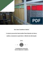 O Arquivo Pessoal de Maria Judite Pinto Mendes de Abreu - Análise, Tratamento e Difusão