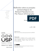 COSCIONI, Fernando J. Reflexões Sobre as Posições Epistemológicas de Richard Hartshorne Em the Nature of Geography