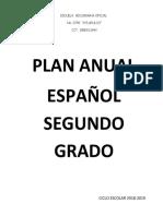 Plan Anual Español Segundo 2018-2019