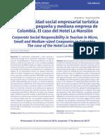 Responsabilidad social empresarial turística en la micro, pequeña y mediana empresa de Colombia. El caso del Hotel La Mansión