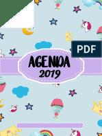 AGENDA Unicornio 2019 Azul Parte 1