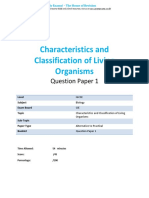 1.1 Characteristics and Classification of Living Organisms CIE IGCSE Biology Practicals QP