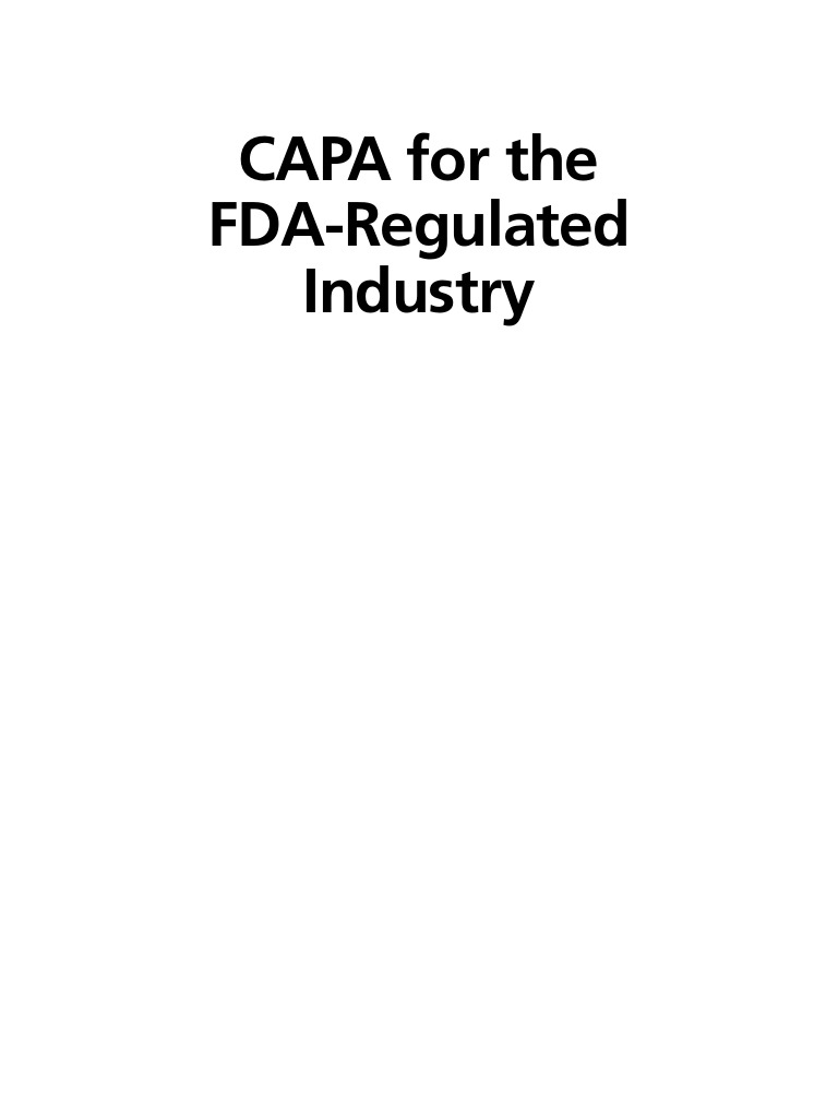 CAPA for the FDA Regulated Industry | Quality Management System
