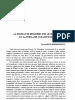 La Incesante Busqueda Del Lenguaje en La Poesia de Octavio Paz