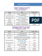 Academic Sessions 2019-2020