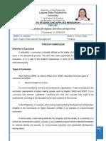 Curriculum Report. Sheryl m. Maldia