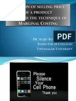 Fixation of Selling Price of a Product Through the Technique of Marginal Costing