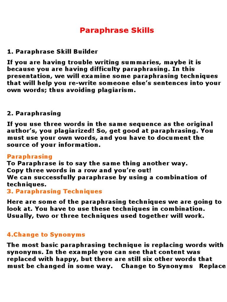 Paraphrase Skill Adverb Verb Paraphrasing Technique Examples Example