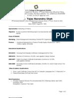 Tejas Shah CV for Internship