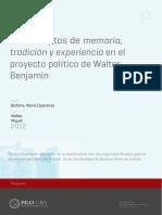 La conceptos de memoria, tradición y experiencia en el proyecto político de Walter Benjamin