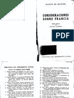 Consideraciones Sobre Francia Joseph Le Maistre