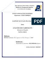 Rapport de Stage sur les analyses des carburants (NAFTAL)