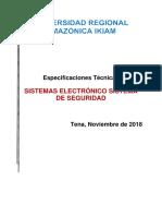 Especificaciones Técnicas Sistema de Seguridad