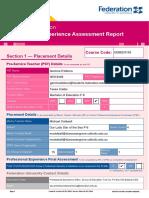 form a professional experience assessment report - gemma dalbora f