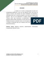 Universidad de Cuenca Facultad de Ciencias Económicas y Administrativas Escuela de Ingeniería Financiera Resumen