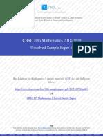Class 10th Mathematics Unsolved Sample Paper V