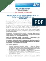 Boletín 002 Nuevos Beneficios Tributarios Con La Ley Para La Reactivación de La Economía