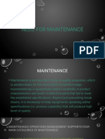 Need for Maintenance