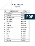 Daftar List Harga