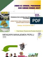 Manajmen K3 Sarana, Prasarana Dan Limbah RS Kes Kerja 2009