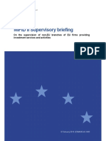 Esma35!43!1493 Mifid II Supervisory Briefing on the Use of Third-country Branches by Eu Firms